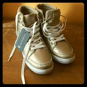 Metallic Gold Ralph Lauren Hi Top Sneakers